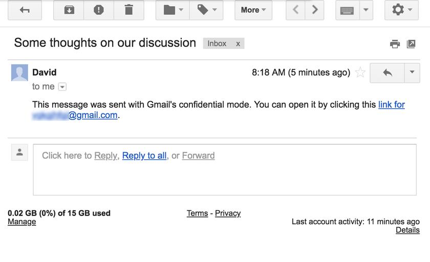 Google прибавит вGmail самоуничтожающиеся электронные письма