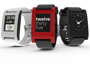 Pebble Watch Jet Black и Pebble Steel Grey