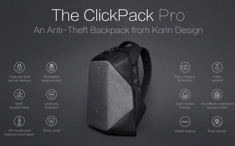 Современный рюкзак ClickPack Pro защищает содержимое от мошенников