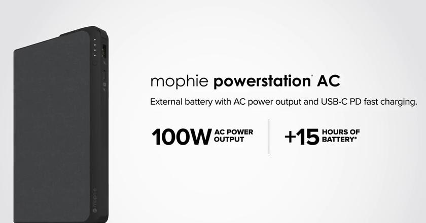 The portable battery Mophie Powerstation AC received a volume of 22,000 mAh and a power of 100 watts
