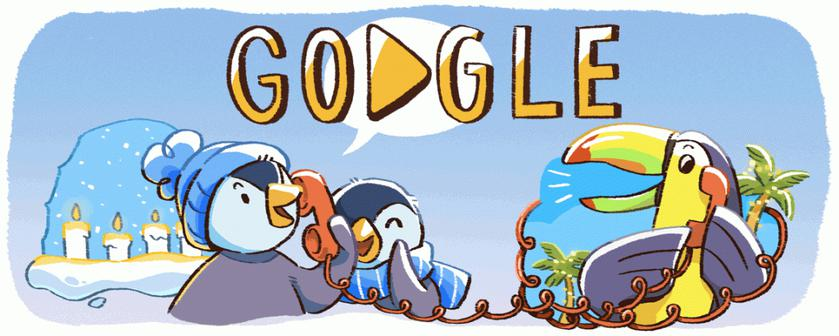 Google Doodle celebrates its first day of holidays