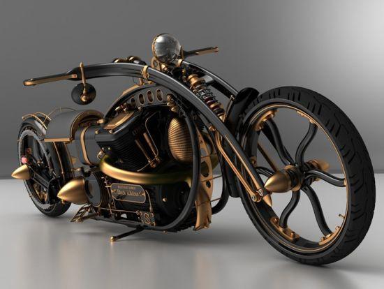 Черная вдова: концепт мотоцикла в стиле паропанк