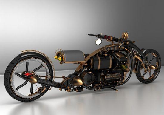 Черная вдова: концепт мотоцикла в стиле паропанк-2