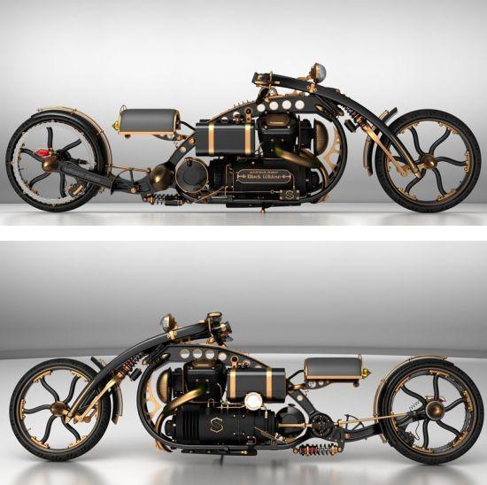 Черная вдова: концепт мотоцикла в стиле паропанк-3