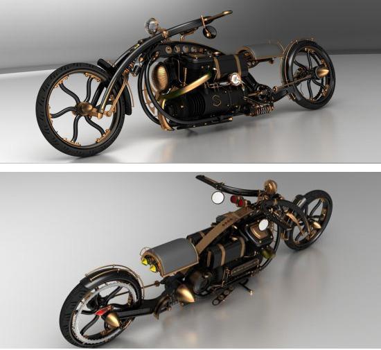 Черная вдова: концепт мотоцикла в стиле паропанк-4