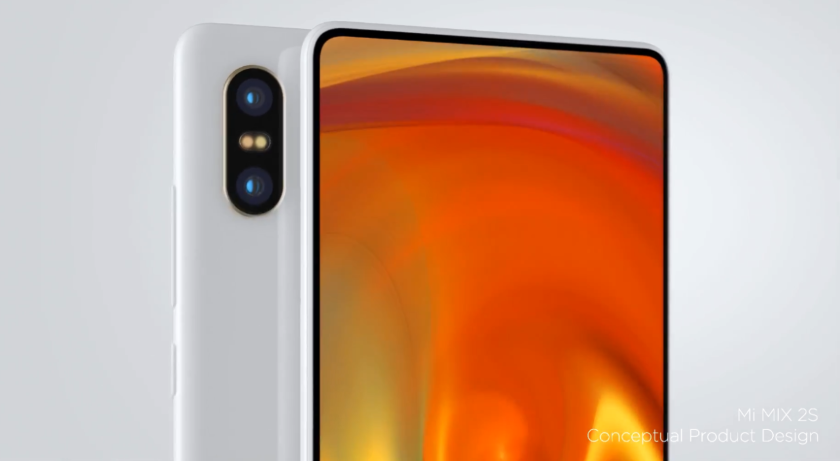 Xiaomi tizerit design of a frameless smartphone Mi MIX 2S