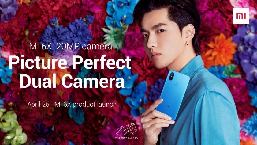 Официальный постер Xiaomi Mi 6X: синий цвет и двойная камера на 20 Мп