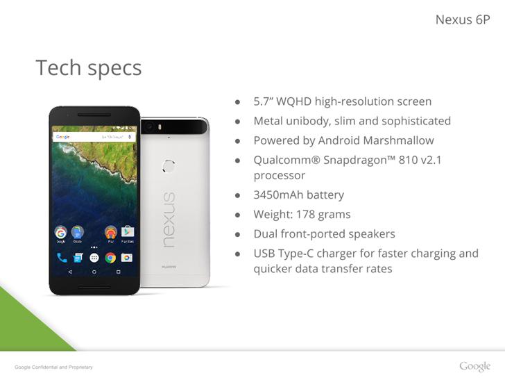 Все секреты Huawei Nexus 6P на утекших слайдах Google