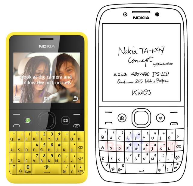 Nokia button-phone with QWERTY-keyboard appeared on the sketch
