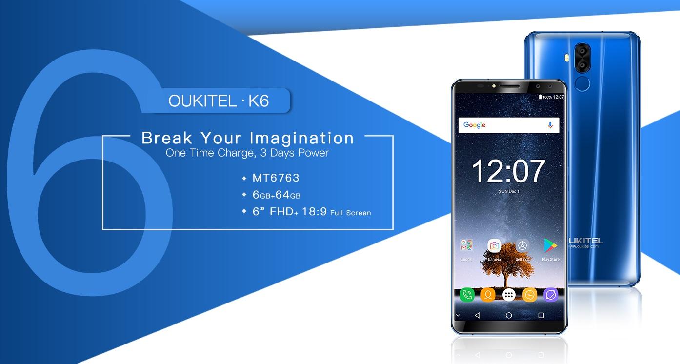 Анонс Oukitel K6— хороший безрамочный смартфон закопейки сNFC-модулем