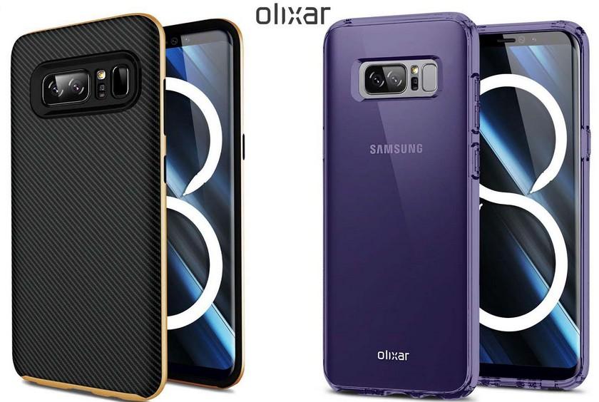 Чехлы для Samsung Galaxy Note 8 подтвердили дизайн смартфона