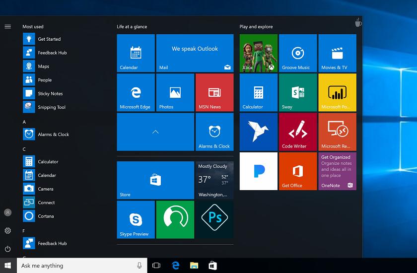 В Windows 10 Creators Update можно будет объединять приложения в папки