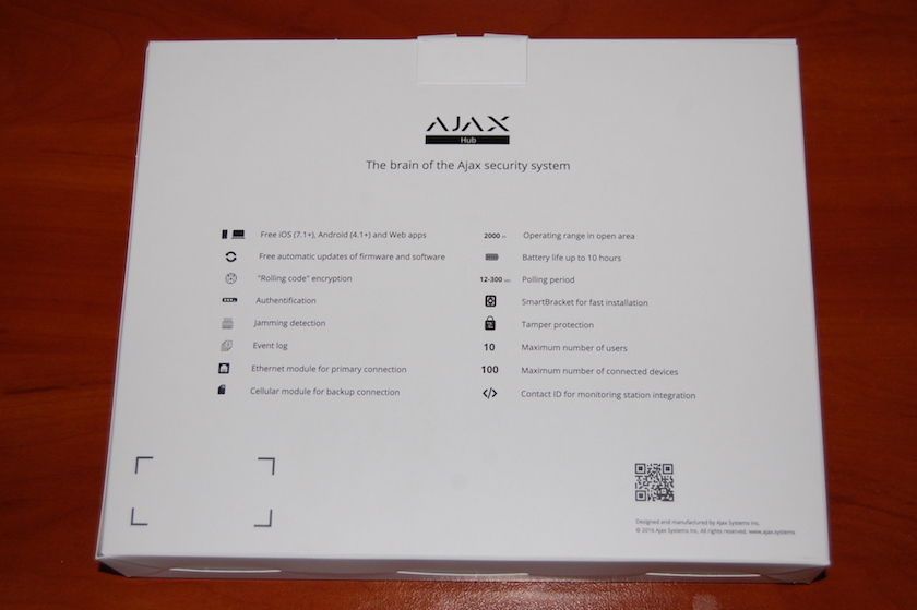 The box for Ajax Hub (back view)