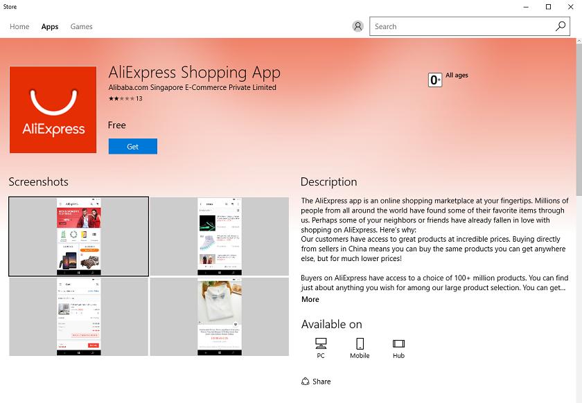 Для Windows 10 вышло официальное приложение AliExpress