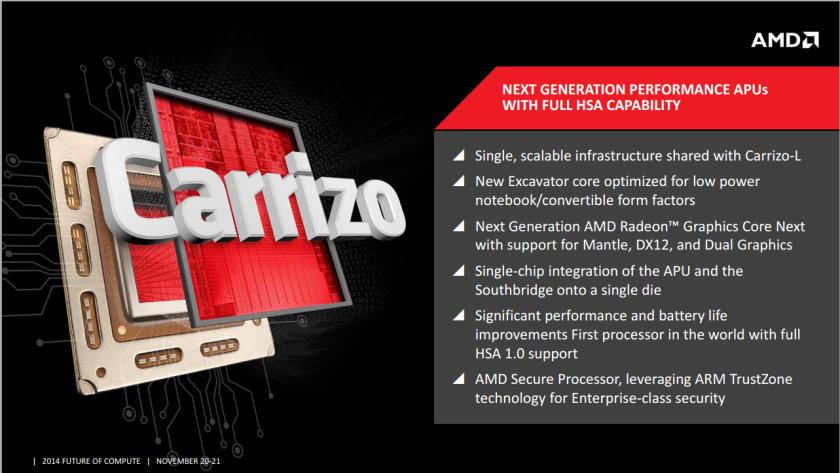 AMD анонсировала процессоры для портативных компьютеров Carrizo и Carrizo-L