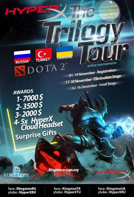Kingston Technology проведет турнир HyperX Trilogy Tour Dota 2 среди геймеров Украины, Турции и России