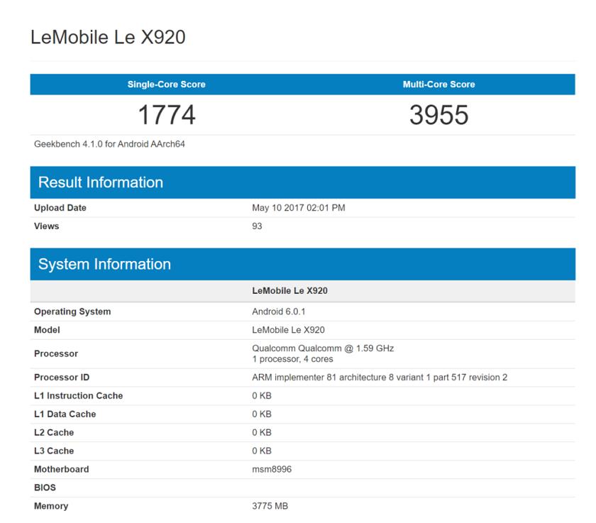 Новый смартфон LeEco LeX920 засветился вбенчмарке Geekbench