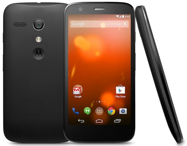 Smartphone Motorola Moto G Google Play Edition with the drain on Android 4.4 KitKat