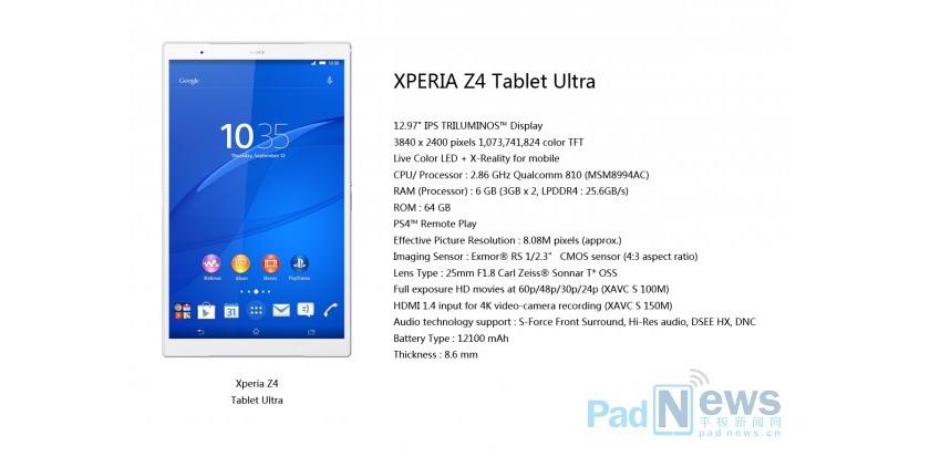 Sony выпустит планшет Xperia Z4 Tablet Ultra с 12.97-дюймовым экраном и... 6 ГБ ОЗУ?
