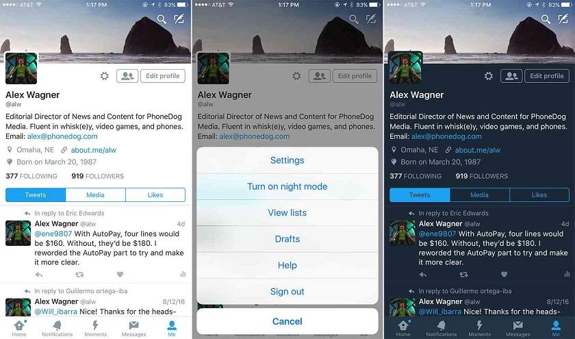 В Твиттер возникла функция «ночного режима» для пользователей iOS