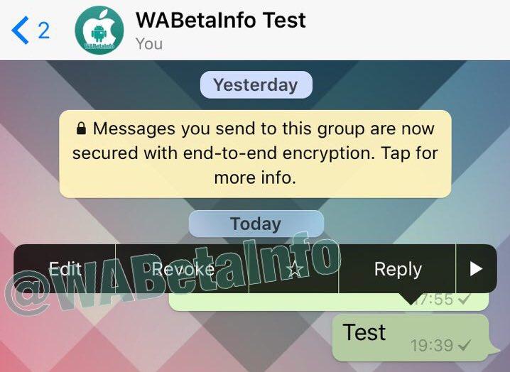 WhatsApp позволит редактировать сообщения