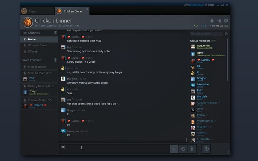В Steam появился чат с каналами, безопасными звонками и GIF-ками