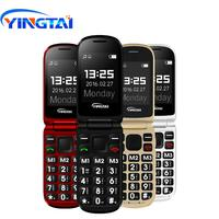 YINGTAI T09 Best feature phone GSM Big push-button flip phone Dual Screen clamshell 2.4 inch Elder telephone cell phones FM MP3
