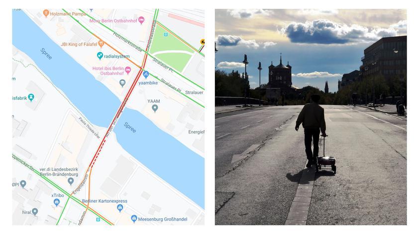 Немецкий художник возил по Берлину тележку с 99 смартфонами и создавал пробки в Google Maps