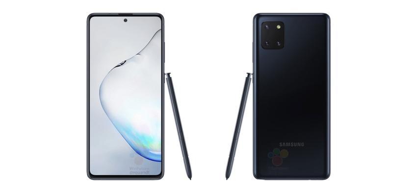 Samsung Galaxy Note 10 Lite на официальных рендерах: «дырявый» экран, тройная камера, разъём для наушников и стилус S Pen