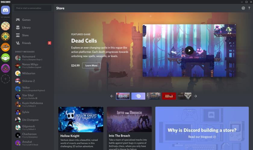Discord открыл собственный цифровой магазин видеоигр