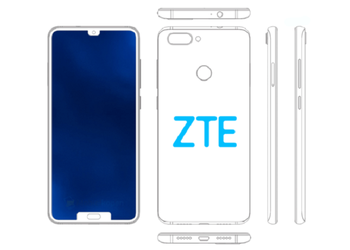 ZTE patented the smartphone immediately with two notches