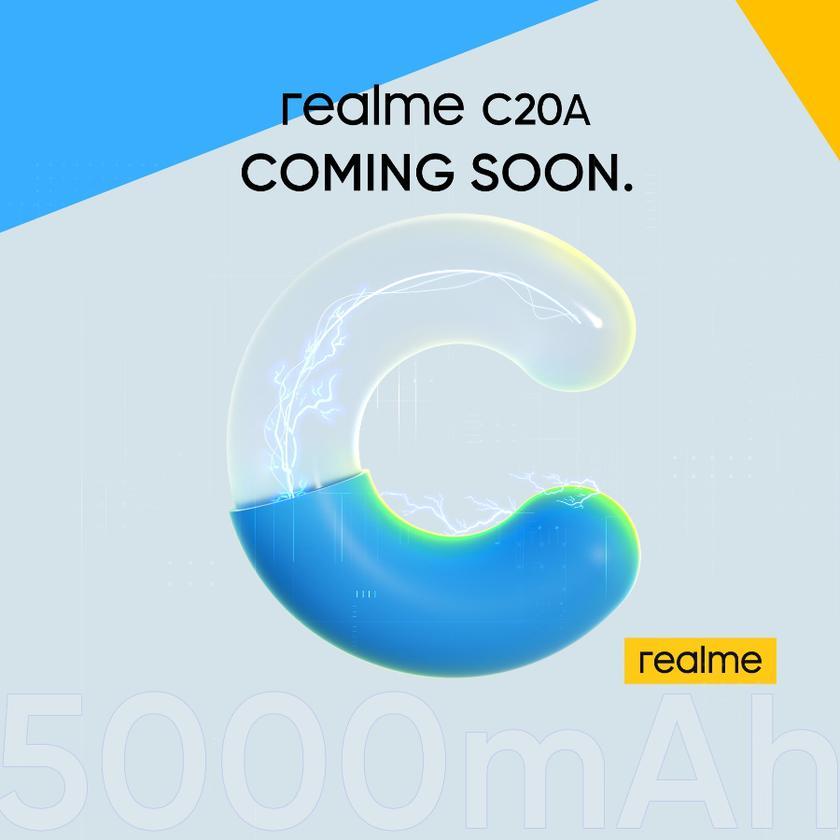Официально: бюджетник Realme C20A с батареей на 5000 мАч дебютирует на следующей неделе
