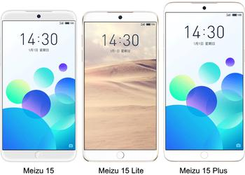 Real photos of smartphones Meizu 15, 15 Plus and 15 Lite: the symmetry of forms