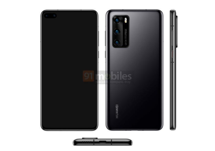 Официальные рендеры Huawei P40 попали в сеть: «дырявый» дисплей и тройная основная камера на прямоугольном выступе