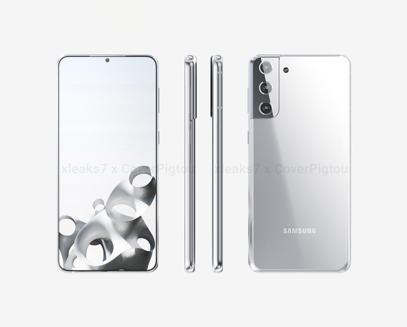 Флагман Samsung Galaxy S21+ на новых рендерах и видео: крошечный вырез и необычный модуль камеры