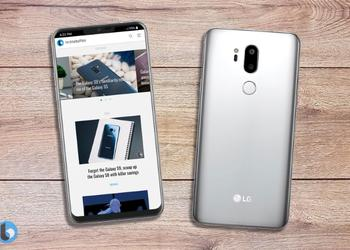 Official rendering of the LG G7 ThinQ: a large screen with a cutout, like the iPhone X