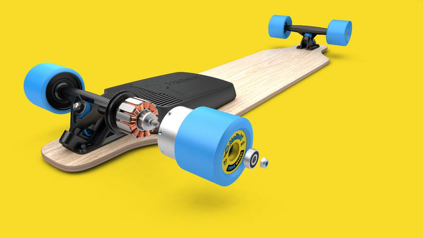 A set of Mellow Drive turns an ordinary skateboard into an electric
