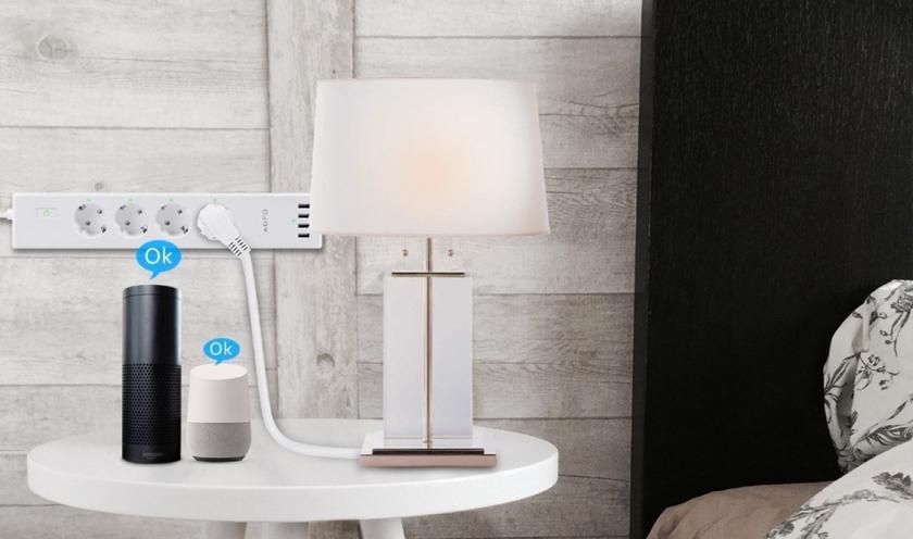 Умный сетевой фильтр AOFO с поддержкой Alexa и Google Assistant