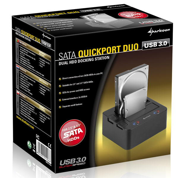Док-станция Sharkoon SATA QuickPort Duo с поддержкой USB 3.0-4