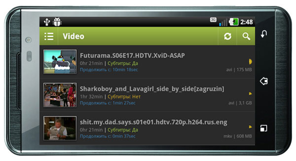 Android-гид: mVideo Player - популярный медиаплер