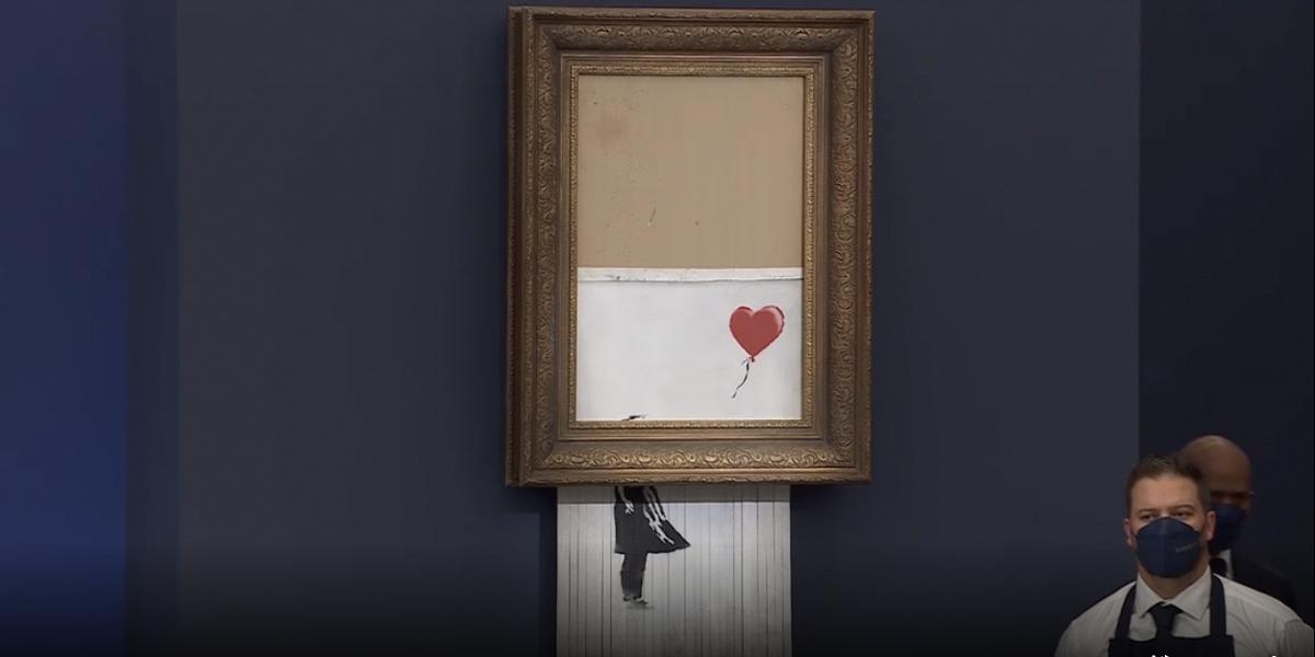 Частично уничтоженную картину художника Бэнкси продали за 18,582 млн на аукционе Сотбис