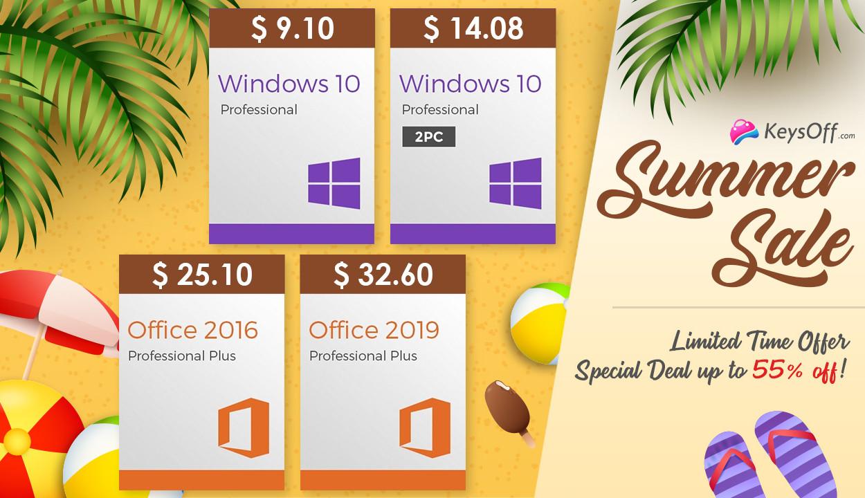 на правах рекламы Летняя распродажа Keysoff: ключи Windows 10 от $9.10 и скидки до 55%
