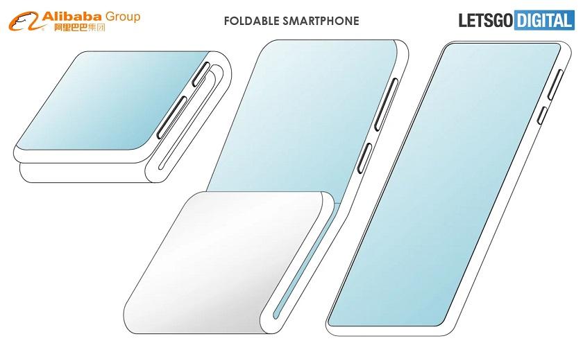 Alibaba запатентовала новый дизайн складного смартфона с двумя сгибами и дополнительным дисплеем