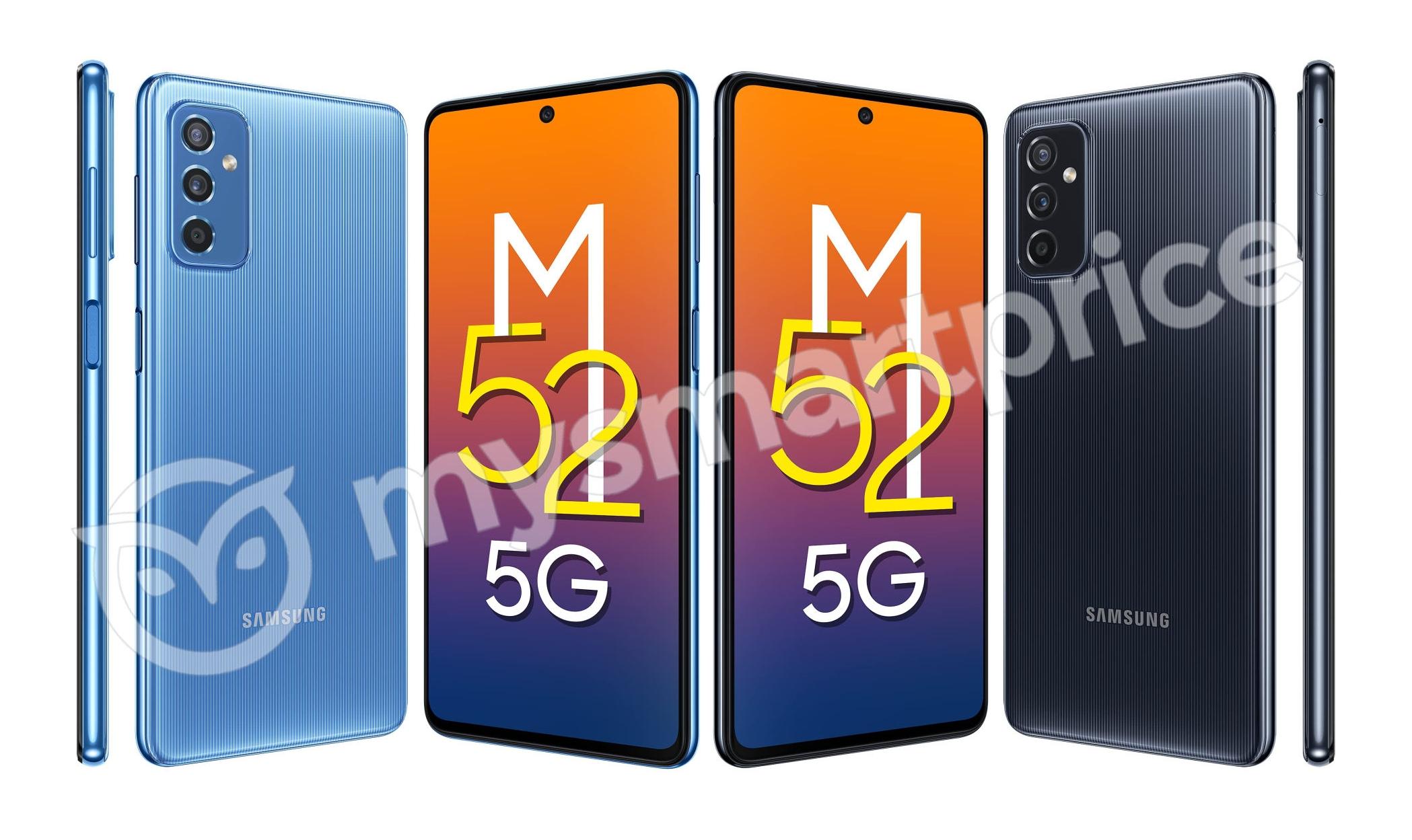 Инсайдер показал как будет выглядеть Samsung Galaxy M52 5G: смартфон с экраном на 120 Гц, тройной камерой и чипом Snapdragon 778G