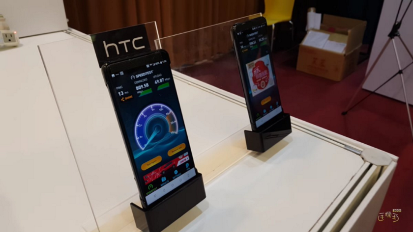 "The flagship HTC U12 ""lit up"" at the event in Taiwan"