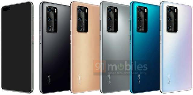 Huawei P40 Pro на официальных пресс-рендерах: пять цветов, «дырявый» экран и квадро-камера (обновлено)