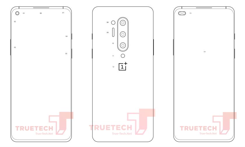 OnePlus 8 Pro появился на официальном схематическом изображении с «дырявым» экраном и квадро-камерой