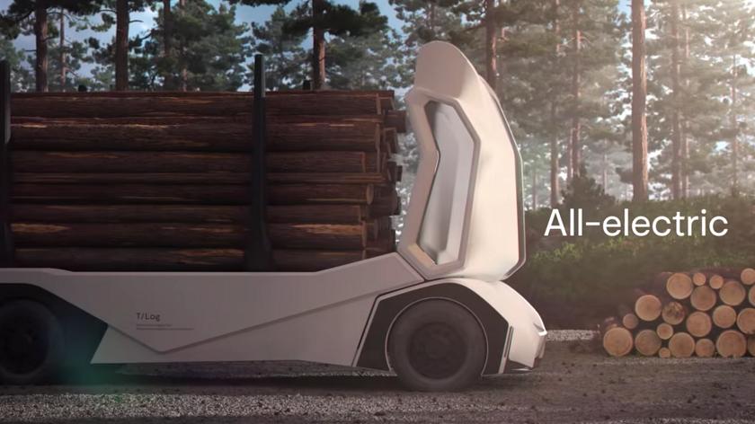 Шведы представили T/Log: первый в мире безкабинный электрогрузовик для перевозки бревен