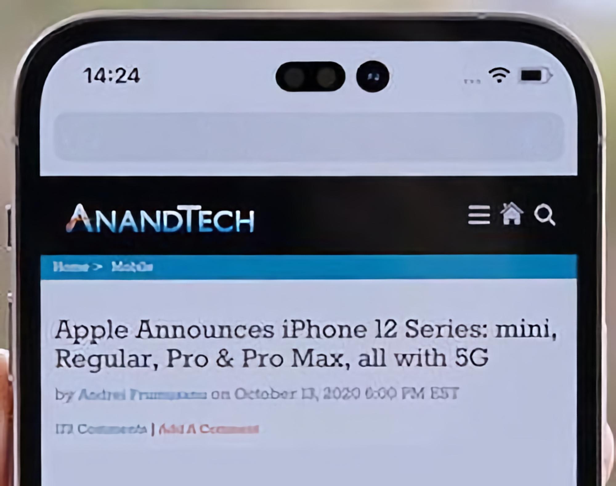 Инсайдер показал как может выглядеть iPhone 14 с дырявым экраном