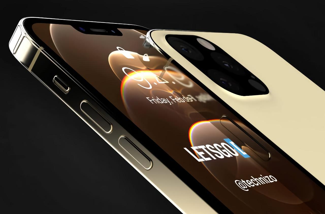 iPhone 13 Pro без порта Lightning, с уменьшенной чёлкой и подэкранным сканером на качественных рендерах